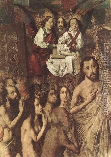 Christ Leading the Patriarchs to the Paradise (detail) c. 1480 by Bartolome Bermejo - Reproduction Oil Painting