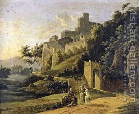 Landscape with a Fortress and a Beggar by Jean-Victor Bertin - Reproduction Oil Painting