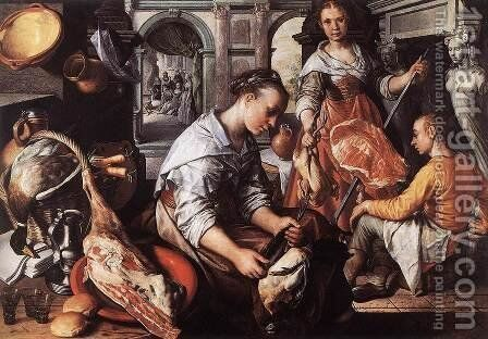 Christ in the House of Martha and Mary by Joachim Beuckelaer - Reproduction Oil Painting