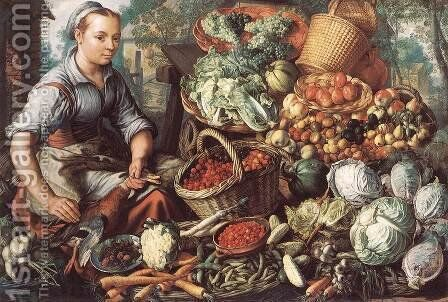 Market Woman with Fruit, Vegetables and Poultry 1564 by Joachim Beuckelaer - Reproduction Oil Painting