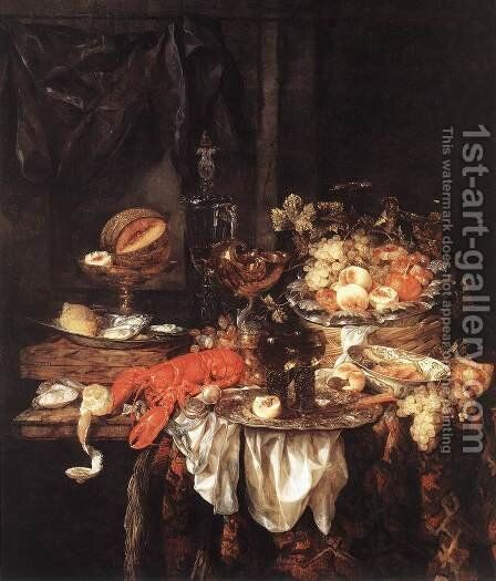 Banquet Still-Life with a Mouse 1667 by Abraham Hendrickz Van Beyeren - Reproduction Oil Painting