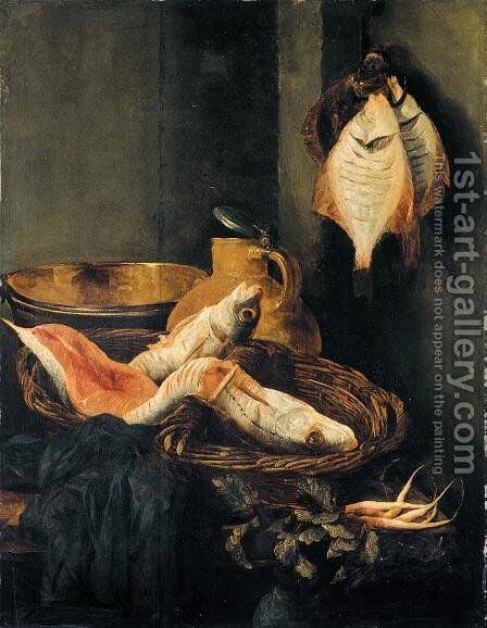 Still-Life with Fish in Basket by Abraham Hendrickz Van Beyeren - Reproduction Oil Painting