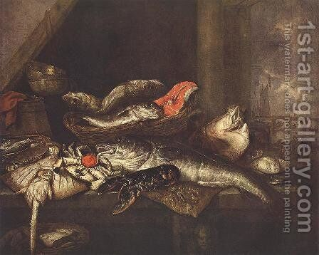 Still-life with Fishes by Abraham Hendrickz Van Beyeren - Reproduction Oil Painting