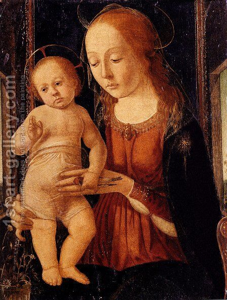 Madonna and Child 1490s by Biagio D'Antonio - Reproduction Oil Painting