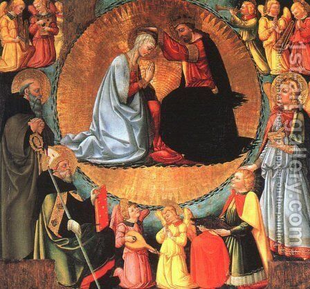 The Coronation of the Virgin by Bicci Di Neri - Reproduction Oil Painting