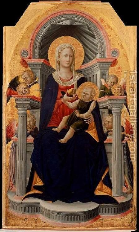 Virgin and Child Enthroned with Four Angels - c. 1445 by Bicci Di Neri - Reproduction Oil Painting