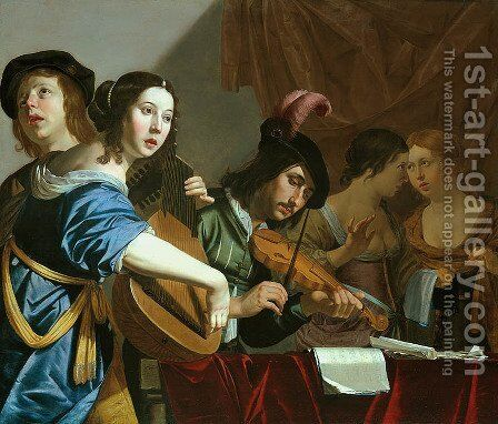 Musical Company by Jan Hermansz. van Biljert - Reproduction Oil Painting