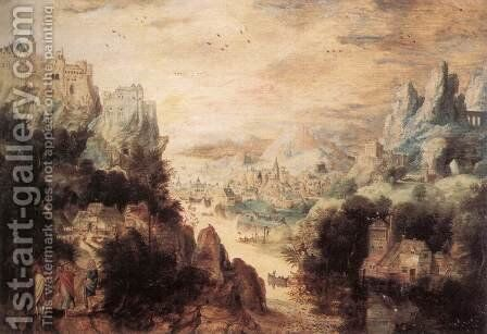 Landscape with Christ and the Men of Emmaus by Herri met de Bles - Reproduction Oil Painting