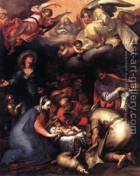 Adoration of the Shepherds 1612 by Abraham Bloemaert - Reproduction Oil Painting
