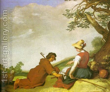 Shepherd and Sherpherdess 1627 by Abraham Bloemaert - Reproduction Oil Painting
