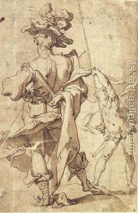 Warrior and Young Standard-Bearer by Abraham Bloemaert - Reproduction Oil Painting