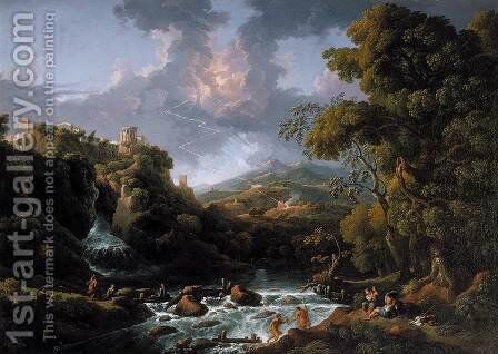 A Scene in the Roman Campagna c. 1736 by Jan Frans van Orizzonte (see Bloemen) - Reproduction Oil Painting