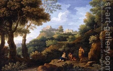 Classical Landscape by Jan Frans van Orizzonte (see Bloemen) - Reproduction Oil Painting