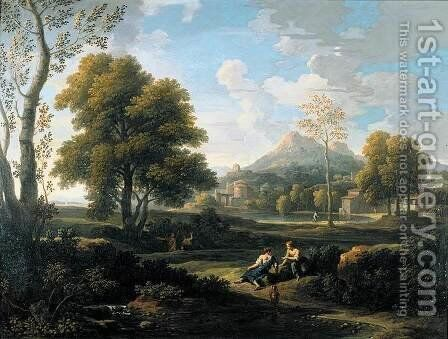 Classical Landscape 2 by Jan Frans van Orizzonte (see Bloemen) - Reproduction Oil Painting
