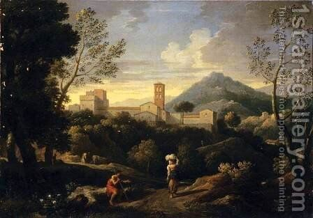 Classical Landscape with Figures by Jan Frans van Orizzonte (see Bloemen) - Reproduction Oil Painting