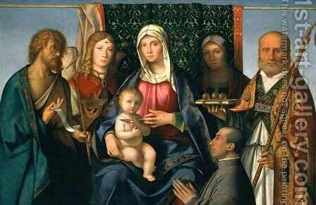 Virgin and Child with Saints and a Donor by Boccaccio Boccaccino - Reproduction Oil Painting