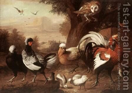 Fowls and Owl, (Baromfiak és bagoly) by Jakab Bogdany - Reproduction Oil Painting