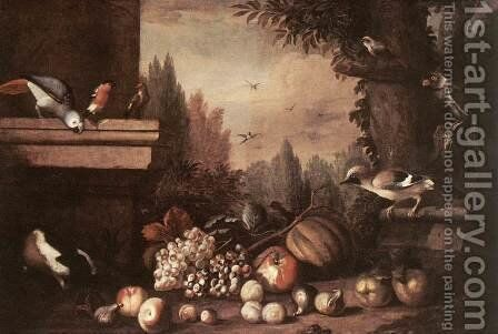 Fruit with Birds and Guinea-pig by Jakab Bogdany - Reproduction Oil Painting