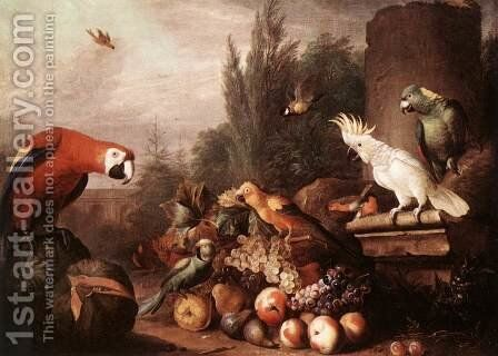 Still-life with Birds 1710s by Jakab Bogdany - Reproduction Oil Painting
