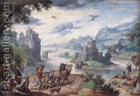 Landscape with the Fall of Icarus by Hans Bol - Reproduction Oil Painting