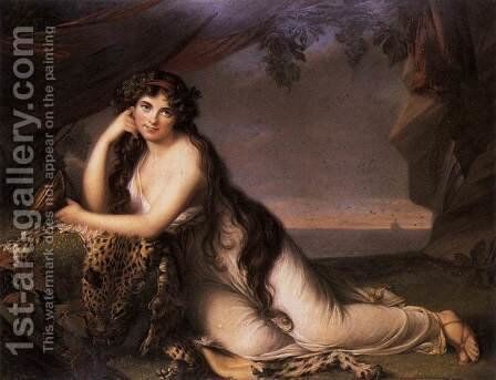 Lady Hamilton as a Bacchante 1803 by Henry Bone - Reproduction Oil Painting