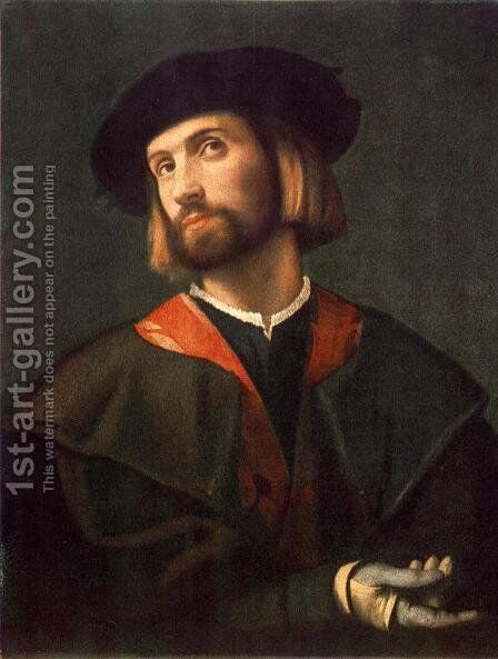 Portrait of a Man c. 1520 by Alessandro Bonvicino (Moretto da Brescia) - Reproduction Oil Painting
