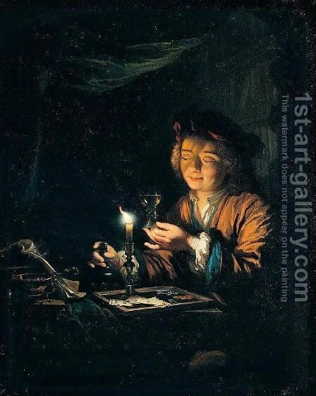 A Young Man Seated at a Table by Arnold Boonen - Reproduction Oil Painting