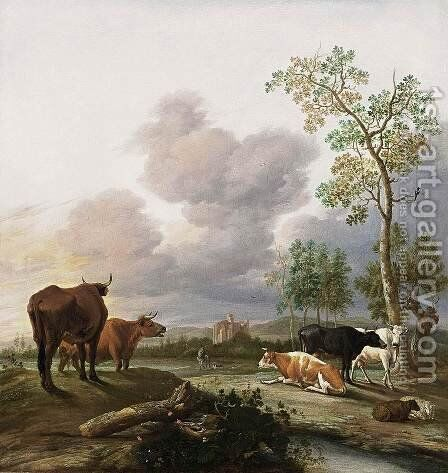 Landscape with Cows and Sheep by Anthonie van BORSSUM - Reproduction Oil Painting