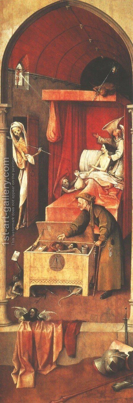 Death and the Miser c. 1490 by Hieronymous Bosch - Reproduction Oil Painting