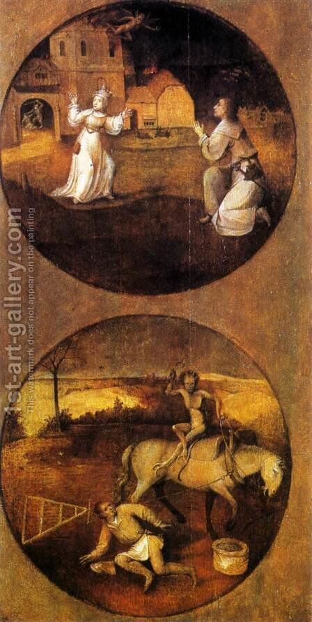 Mankind Beset by Devils (reverse of Rebel Angels panel) 1500-04 by Hieronymous Bosch - Reproduction Oil Painting
