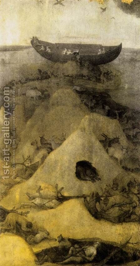 Noah's Ark on Mount Ararat (obverse) 1500-04 by Hieronymous Bosch - Reproduction Oil Painting