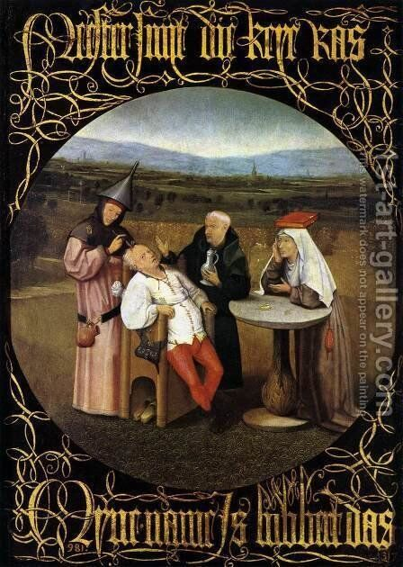 The Cure of Folly (Extraction of the Stone of Madness) 1475-80 by Hieronymous Bosch - Reproduction Oil Painting