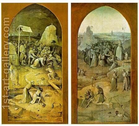 Tiptych of Temptation of St Anthony (outer wings) by Hieronymous Bosch - Reproduction Oil Painting