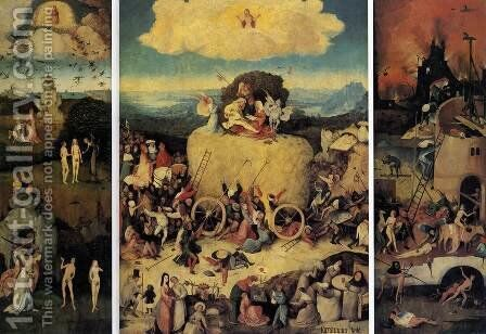 Triptych of Haywain (1) 1500-02 by Hieronymous Bosch - Reproduction Oil Painting