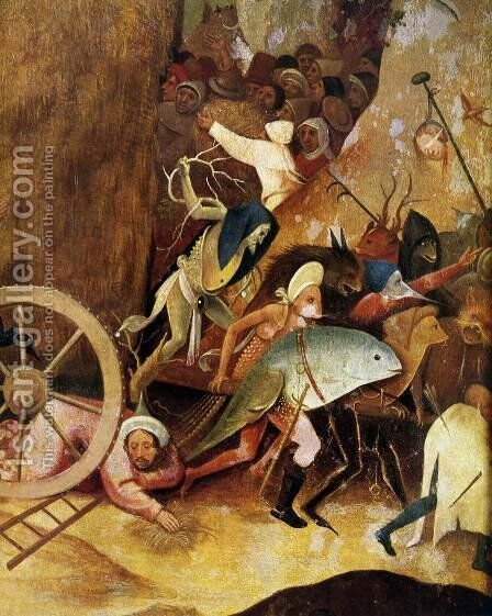 Triptych of Haywain (central panel) (detail 1) 1500-02 by Hieronymous Bosch - Reproduction Oil Painting