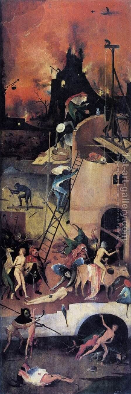 Triptych of Haywain (right wing-1) 1500-02 by Hieronymous Bosch - Reproduction Oil Painting