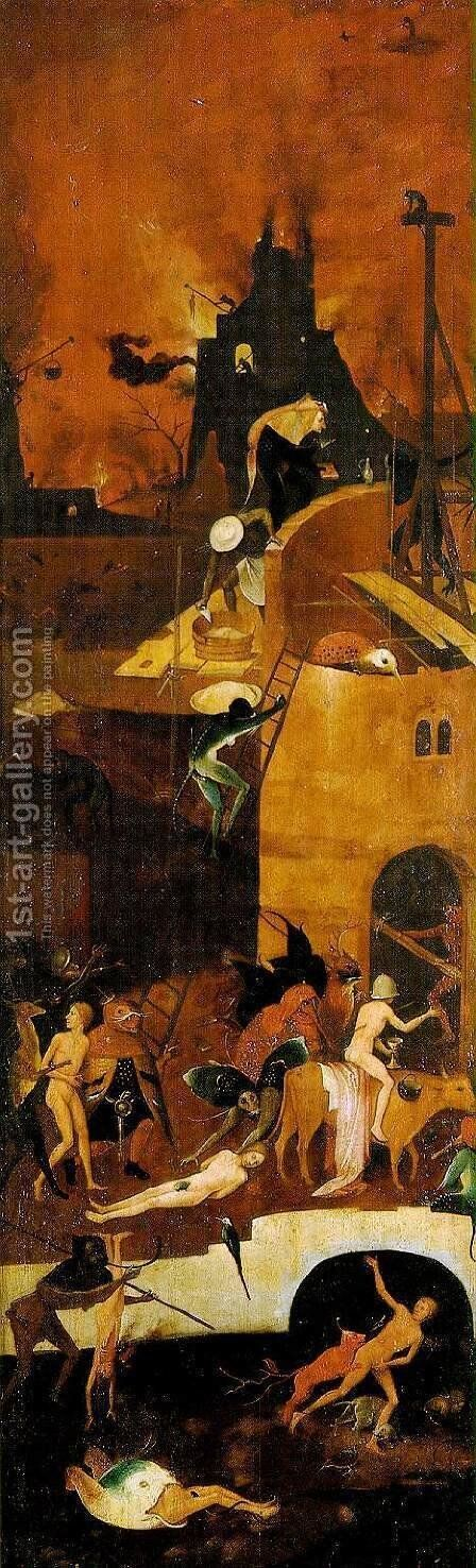 Triptych of Haywain (right wing-2) 1500-02 by Hieronymous Bosch - Reproduction Oil Painting