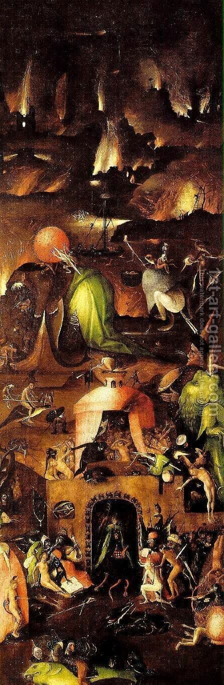 Triptych of Last Judgement (right wing) by Hieronymous Bosch - Reproduction Oil Painting