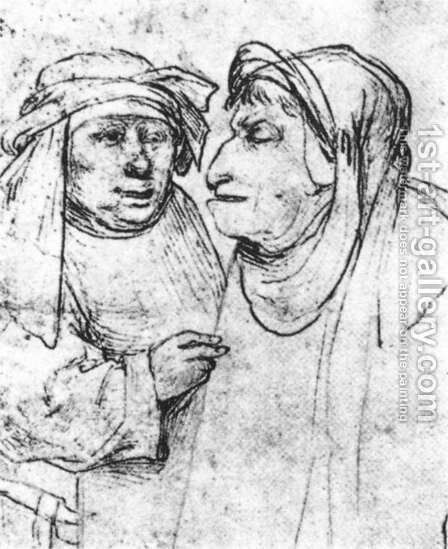 Two Caricatured Heads by Hieronymous Bosch - Reproduction Oil Painting