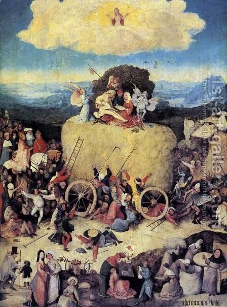Triptych of Haywain (central panel-1) 1500-02 by Hieronymous Bosch - Reproduction Oil Painting