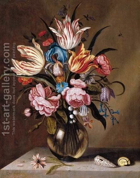 Flowers in a Glass Vase by Abraham Bosschaert - Reproduction Oil Painting