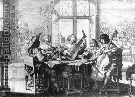 Musical Society c. 1635 by Abraham Bosse - Reproduction Oil Painting