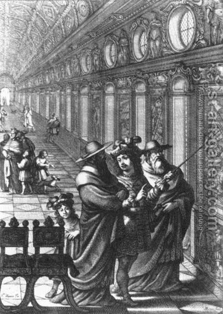 Roger Showing a Gallery of Paintings to Several Cardinals, 1656 by Abraham Bosse - Reproduction Oil Painting