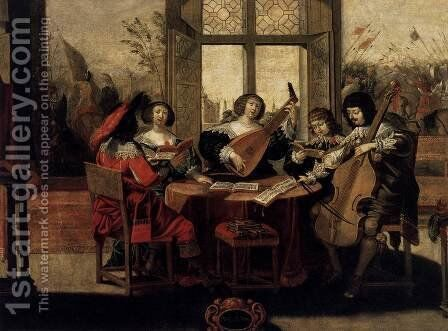 The Five Senses- Hearing c. 1635 by Abraham Bosse - Reproduction Oil Painting