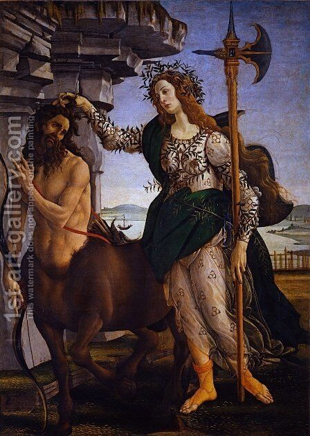 Pallas and the Centaur c. 1482 by Sandro Botticelli (Alessandro Filipepi) - Reproduction Oil Painting