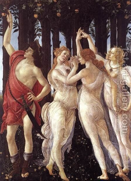 Primavera (detail 1) c. 1482 by Sandro Botticelli (Alessandro Filipepi) - Reproduction Oil Painting