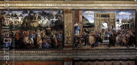 Scenes on the left wall 1481-82 by Sandro Botticelli (Alessandro Filipepi) - Reproduction Oil Painting