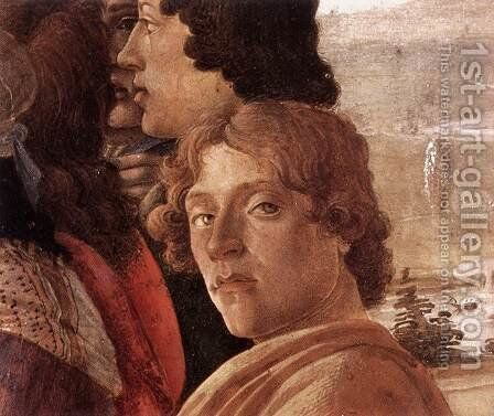 The Adoration of the Magi (detail 3) c. 1475 by Sandro Botticelli (Alessandro Filipepi) - Reproduction Oil Painting