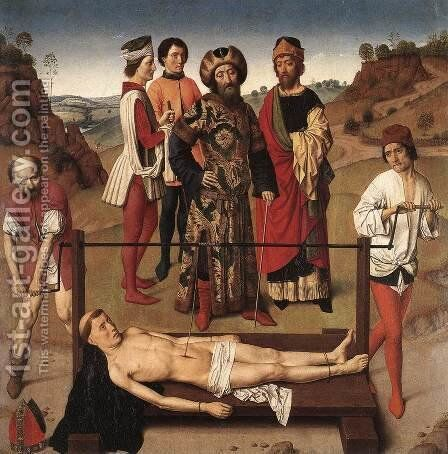 Martyrdom of St Erasmus (central panel) c. 1458 by Dieric the Elder Bouts - Reproduction Oil Painting