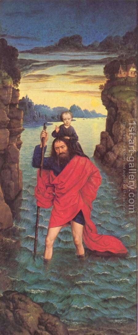 Saint Christopher c. 1470 by Dieric the Younger Bouts - Reproduction Oil Painting